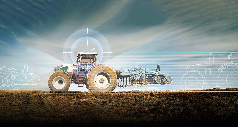 Tractor with superimposed location graphics